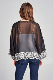 SHEER KIMONO WITH LACE DETAIL