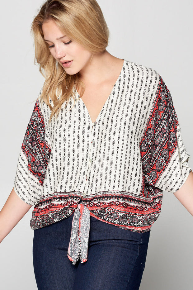 PRINT FRONT TIE BUTTON UP TOP
