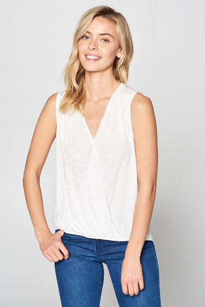 SOLID SURPLICE SLEEVELESS TOP