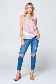 BORDER PRINT SLEEVELESS TOP WITH BACK SLIT