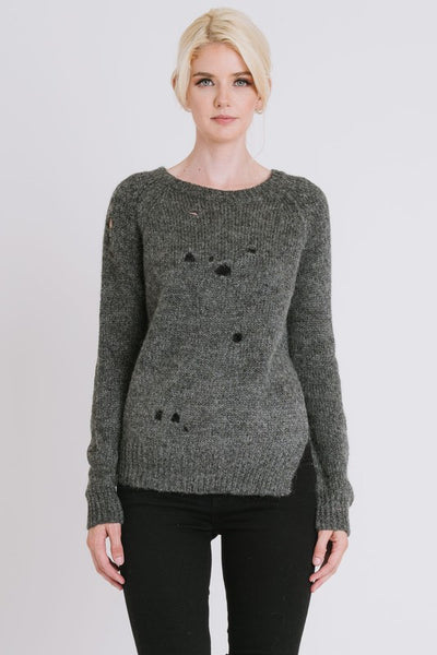 ROUND NECK SWEATER WITH HOLES AND SIDE SLIT