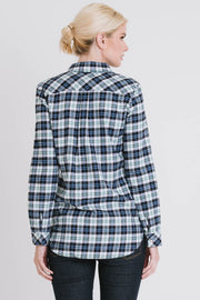 LONG SLEEVE PLAID TOP WITH BUTTONS