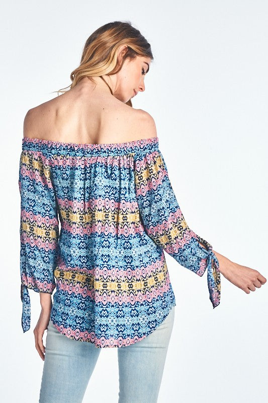 PRINT OFF THE SHOULDER TOP WITH SLEEVE TIE