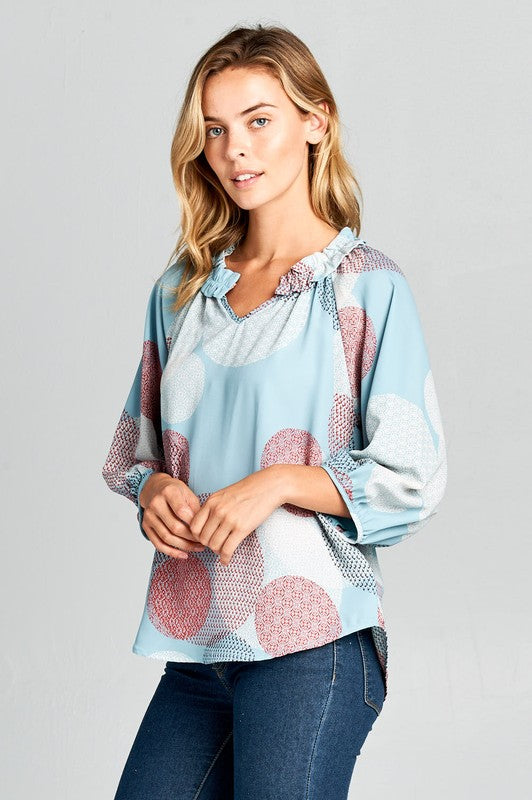 Renee C.  Ruffle Split Neck 3/4 Sleeve Print Top