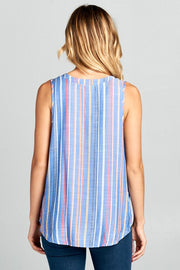 STRIPED MULTI COLOR SLEEVELESS TOP