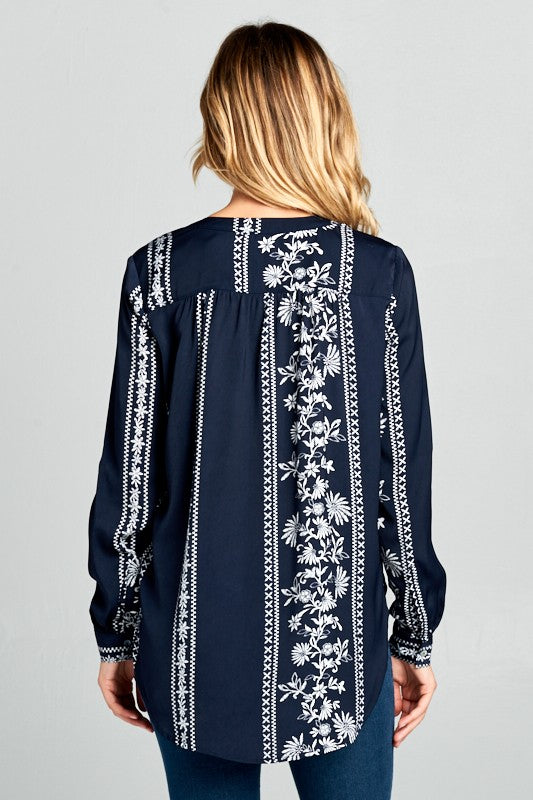 LONG SLEEVE EMBROIDERY TOP WITH BUTTONS