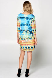 BORDER PRINT DRESS WITH WAIST TIE