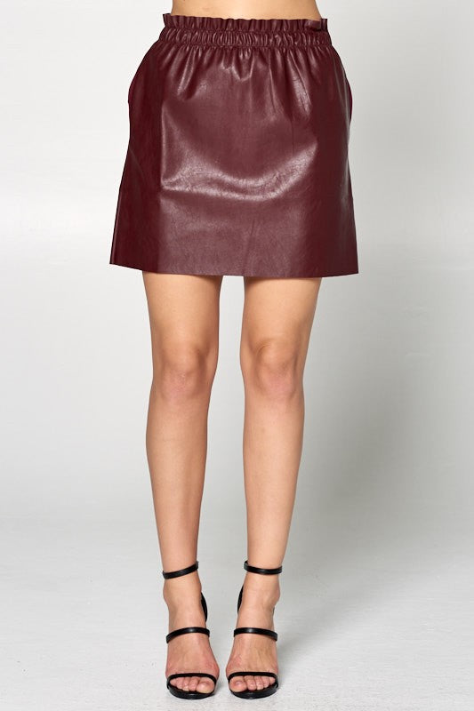 FAUX ELASTIC WAIST MINI SKIRT