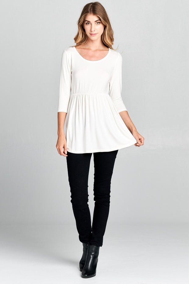 Basic 3/4 Sleeve Cinched Waist Soft Tunic Top