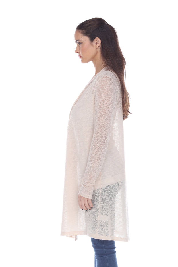 SHEER NUDE OPEN FRONT CARDIGAN