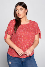 POLKA DOT SCOOP NECK TOP WITH SLEEVE TIE