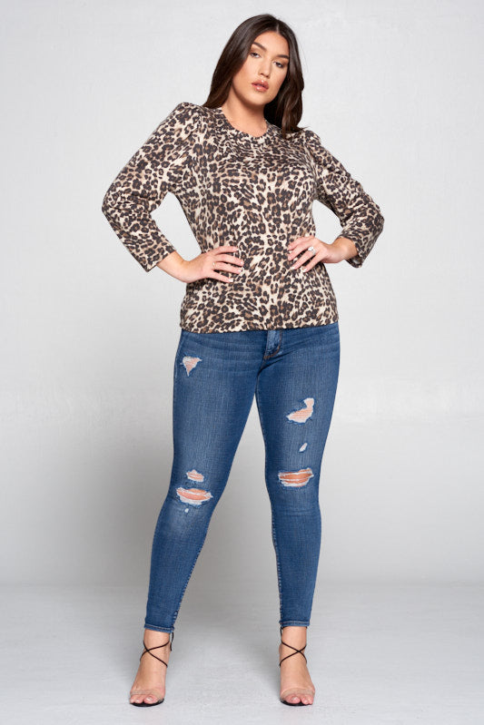 LEOPARD PRINT TOP WITH PUFF SLEEVE