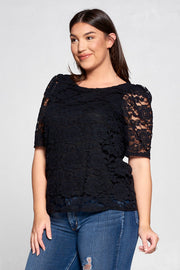 SCOOP NECK LACE SHORT SLEEVE TOP