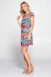 ABSTRACT TIE-DYE DRESS WITH WAIST TIE