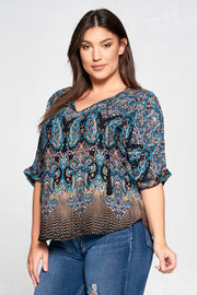 PAISLEY V-NECK TASSEL TOP