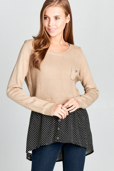 KNIT TOP WITH BOTTOM POLKA DOT DETAIL