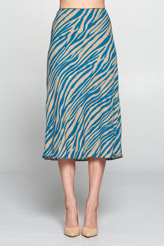 TEAL ANIMAL PRINT MIDI SKIRT