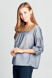 3/4 SLEEVE TOP WITH FRONT LACE DETAIL