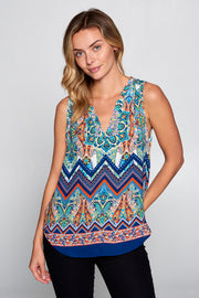 BORDER PRINT SLEEVELESS TOP
