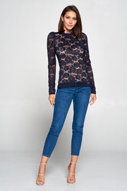 FLORAL LACE TOP WITH RUFFLE NECK AND BACK KEYHOLE