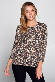 LEOPARD PRINT SCOOP NECK TOP WITH PUFF SLEEVE