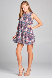SLEEVELESS A LINE PAISLEY PRINT DRESS