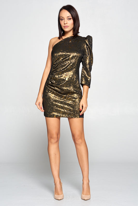 ONE SHOULDER METALLIC BODYCON DRESS
