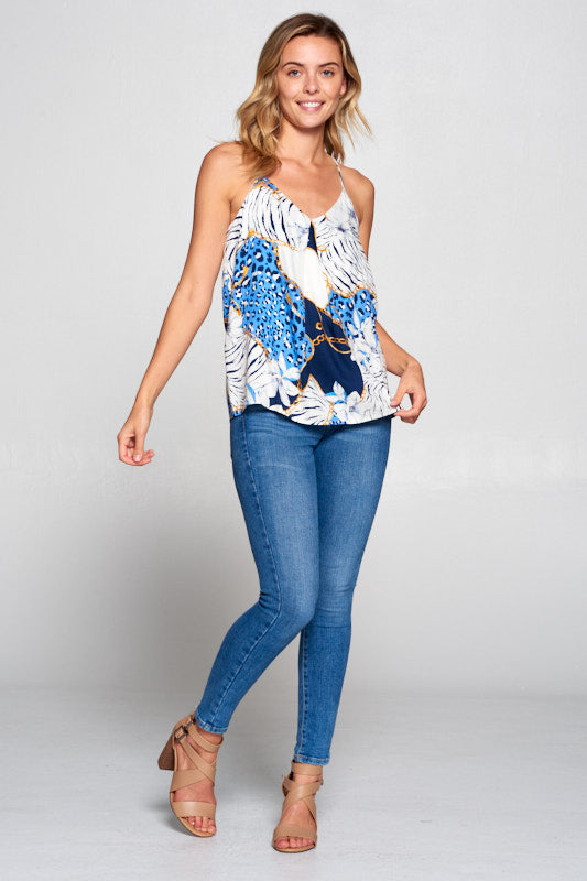 CHAIN AND ANIMAL PRINT RACERBACK TOP