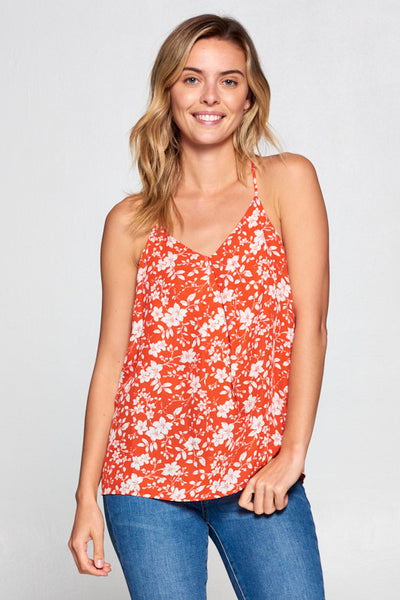 FLORAL RED RACERBACK TOP