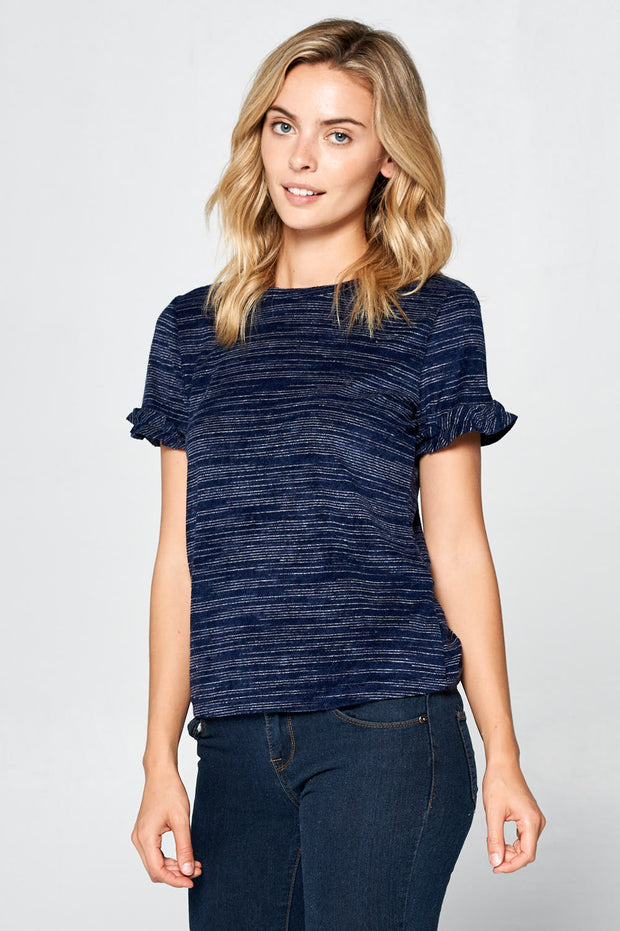 KNIT SHORT SLEEVE TOP
