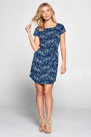 ABSTRACT LINE PRINT DRESS WITH WAIST TIE