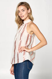 SLEEVELESS HIGH NECK TOP WITH METALLIC STRIPES