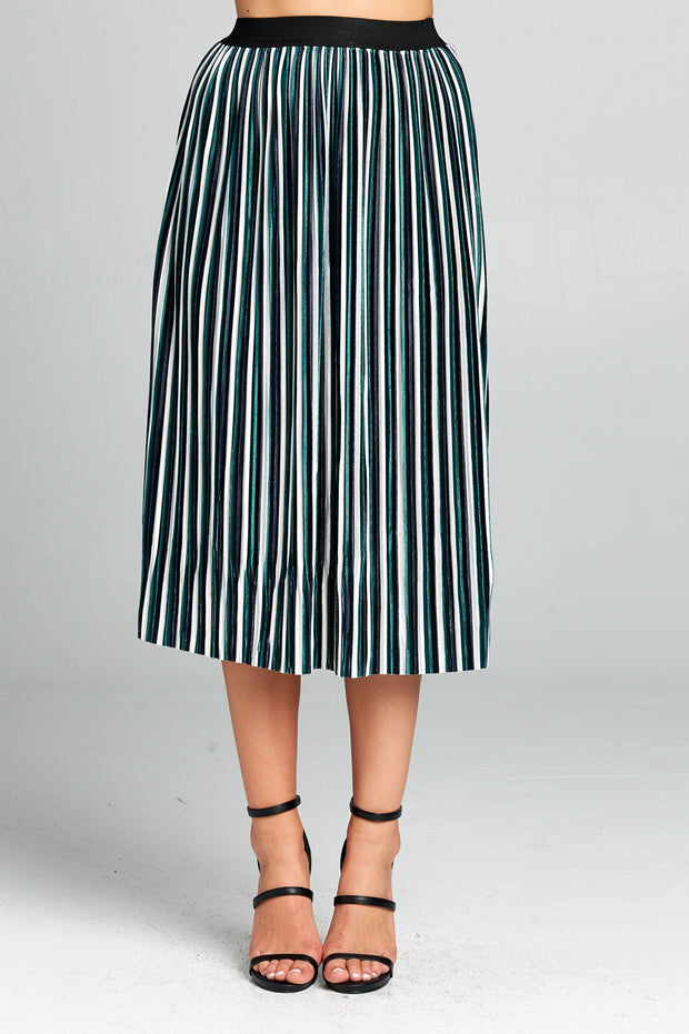 STRIPED MID LENGTH SKIRT