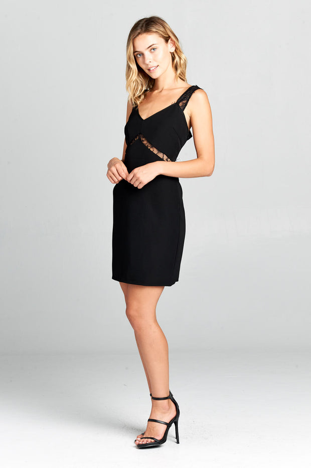 TANK BODYCON DRESS WITH LACE DETAIL