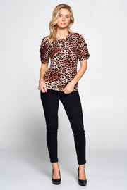 LEOPARD PUFF SLEEVE TOP WITH KNOT DETAIL