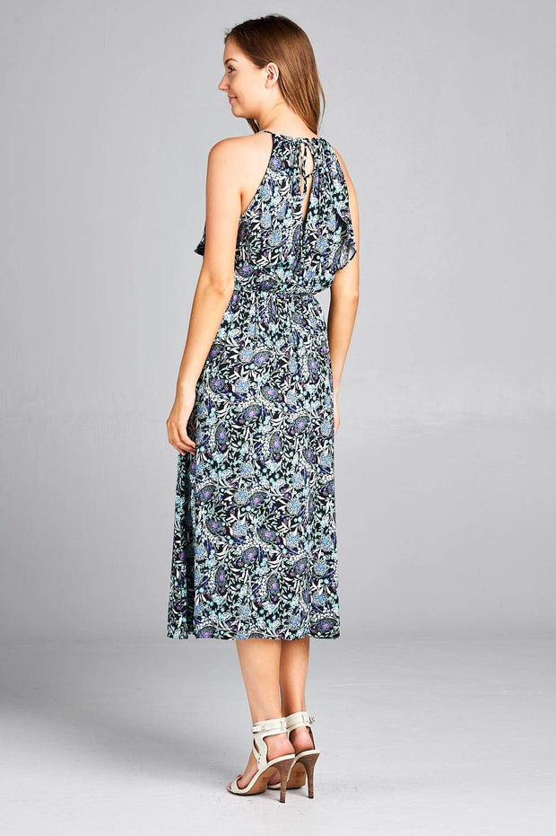 PAISLEY PRINT RUFFLED MAXI DRESS