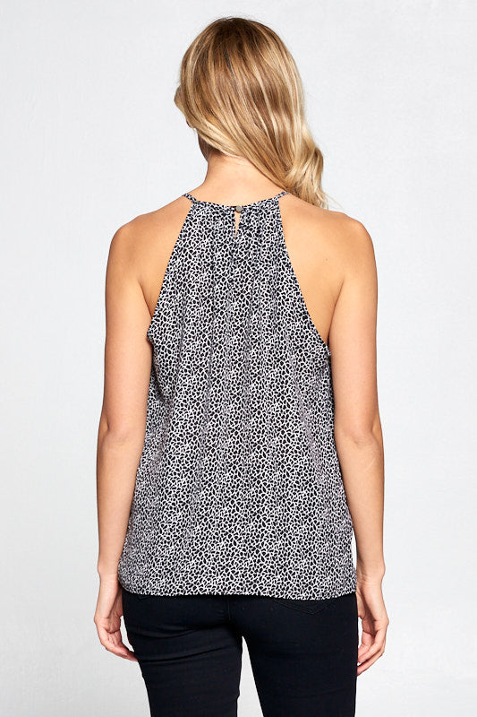 ABSTRACT PRINT SLEEVELESS TOP WITH KEYHOLE