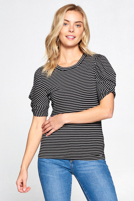 STRIPED PUFF SLEEVE TOP WITH KNOT DETAIL