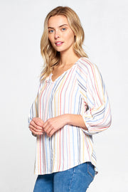 STRIPED MULTI COLOR 3/4 SLEEVE TOP
