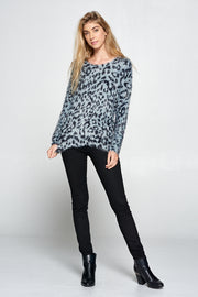 FUZZY LEOPARD PRINT SCOOP NECK SWEATER