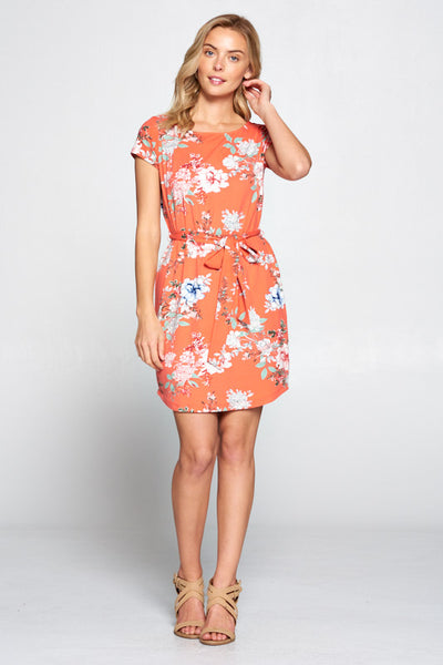 CORAL FLORAL PRINT DRESS WITH WAIST TIE