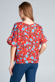 SHORT SLEEVE FLORAL PRINT TOP WITH RUFFLE SLEEVES