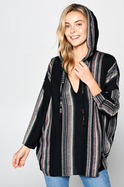 LONG SLEEVE STRIPED HOODED TOP
