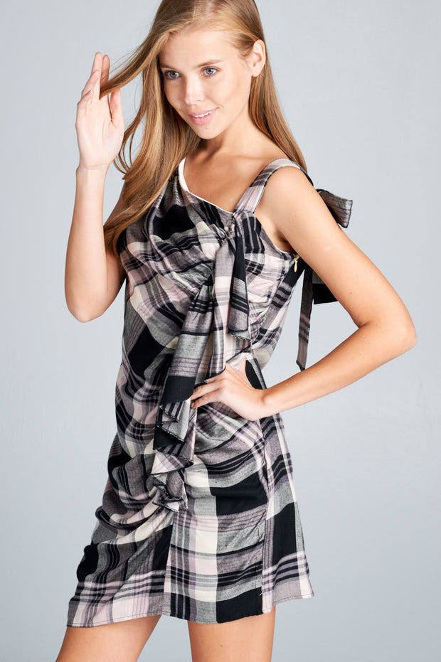 ONE SHOULDER PLAID DRESS WITH SCRUNCH