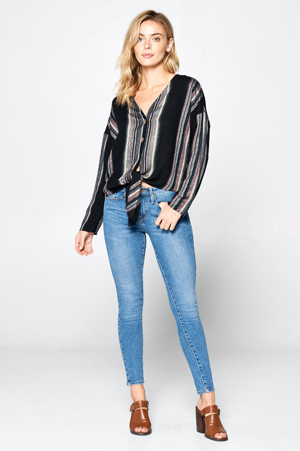 LONG SLEEVE STRIPED LINEN BUTTON UP TOP