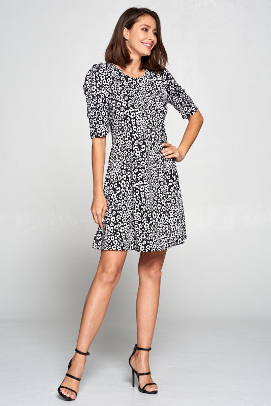 ANIMAL PRINT SWING DRESS WITH PUFF SLEEVE