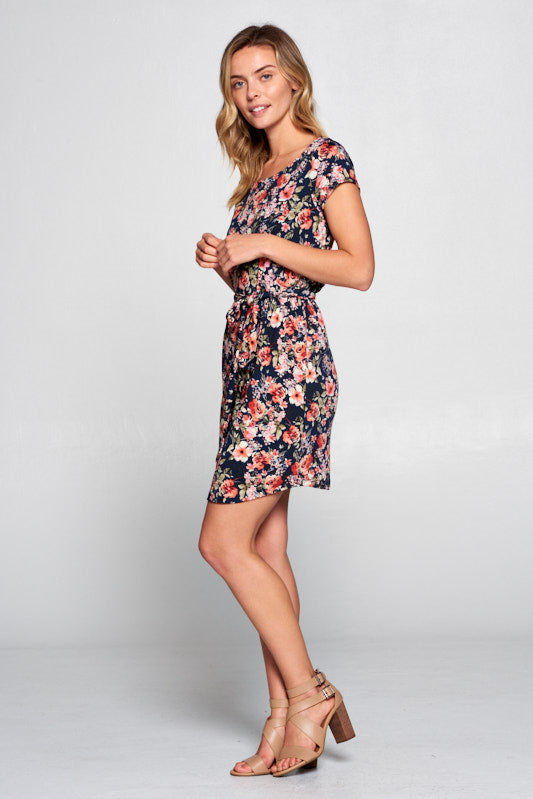 FLORAL PRINT DRESS WITH WAIST TIE
