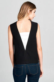 SLEEVELESS DEEP V-NECK TOP