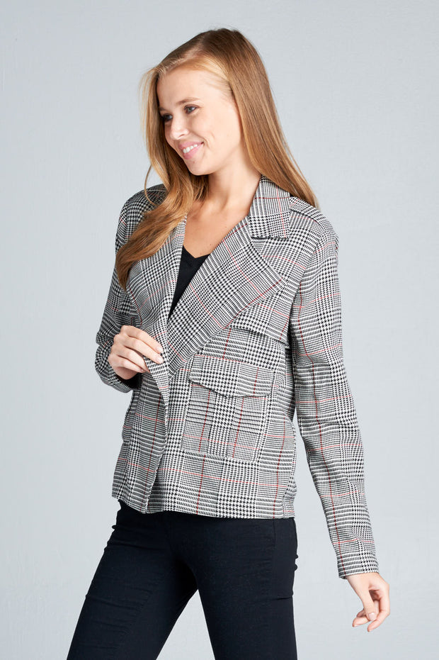 LONG SLEEVE CHECK BLAZER WITH POCKETS