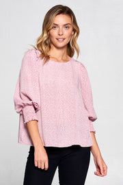 PINK ROUND NECK TOP WITH SMOCKED CUFFS